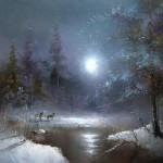 Wolves in the twilight. Painting by Russian artist Igor Medvedev