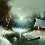 Hut at the river. Moonlight sonata in painting by Russian artist Igor Medvedev
