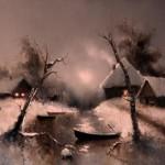 Winter landscape. Moonlight sonata in painting by Russian artist Igor Medvedev