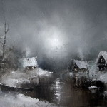 January. Moonlight over the village, oil painting by Russian artist Igor Medvedev