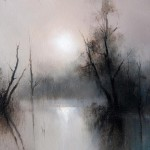 Mist over the lake. Moonlight painting by Russian artist Igor Medvedev