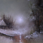 A boat at the river. Moonlight sonata in painting by Russian artist Igor Medvedev
