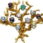 Multi-Stone, Diamond, Gold Brooch