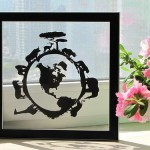 The world map and animals paper silhouette by artists Dmitry and Julia