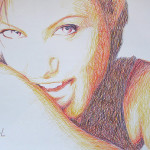 Angelina Jolie. 2010. Pen drawing by creative alliance 'Save L' (brothers Savelyevs)