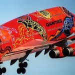 Quantas fwaturing aboriginal art of Australia Aircraft graffiti