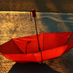 Light and color. Red umbrella project by Canadian photographer Andre Villeneuve
