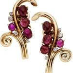 Ruby, Diamond, Gold Earrings