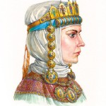 Russian princess in enamel headwear with tiara and kolt, second half of XII – early XIII centuries. According to the materials of the Kiev treasures