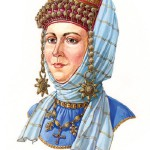 "Russian woman in a headwear with a kolt on ryasno and ""ochelie"", the second half of the XII century"