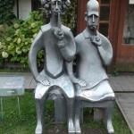 Albert Einstein and Niels Bor, sculptor Vladimir Lemport