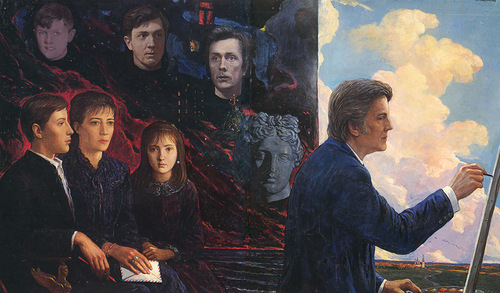 Self-portrait with his family. 1986. Oil on canvas
