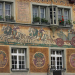 Historical scenes in paintings decorating houses of Stein am Rhein, Switzerland