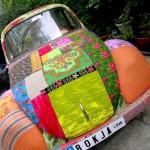 Brightly decorated car