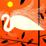 The White Egret. Beautiful Illustration from The Golden Book of Biology by American modernist artist Charley Harper