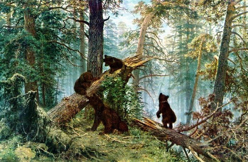 Morning in a pine forest a painting by russian artist ivan shishkin