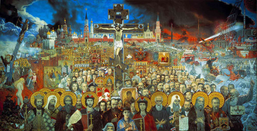 The painting 'Eternal Russia', 1988, one of the artist's central works shows us in one panorama the entire history of Russia Artist historian and philosopher Ilya Glazunov