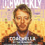 Thom Yorke & Coachella by the numbers for OC Weekly. Mosaic portrait of Radiohead's Thom Yorke made out of data related to the Coachella Valley Music and Arts Festival in Indio, California. Made for the cover of OC Weekly newspaper