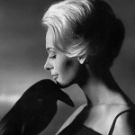 With a black raven, Tippi Hedren