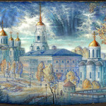 Beautiful view on Uspenskiy and Dmitrievskiy Cathedrals. Town of Vladimir