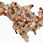 USA World Map Made of Coins