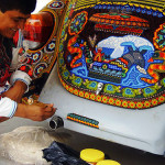 Retro Volkswagen, bead decorated by Huichol craftsmen from Mexico