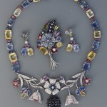 White Gold Multi Colored Sapphire, Ruby & Diamond Necklace, Pin & Earring Set