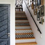 Black-and-white patterned stairs
