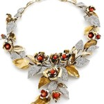 Diamond, Coral Platinum and gold necklace