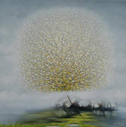 Colorful and fluffy Dandelion trees in paintings of Vietnamese artist Vu Cong Dien