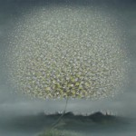 In the mist. White fluffy Dandelion-like tree. Paintings by Vietnamese artist Vu Cong Dien