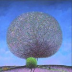 A small and big trees. Colorful and fluffy Dandelion trees in paintings of Vietnamese artist Vu Cong Dien