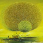 Green balls. Village landscape with fluffy dandelion trees in paintings of Vietnamese artist Vu Cong Dien