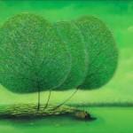 Three trees. One-of-a-kind Dandelion trees in paintings of Vietnamese artist Vu Cong Dien