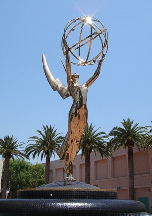 Emmy statuette and the courtyard of TV stars statues