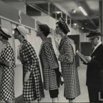 Glamorous models in hats. Race track fashion at Roosevelt Raceway's pari-mutuel window, 1958. Photography by Nina Leen