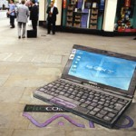 Lap top on the pavement. 3D street art by English freelance artist Julian Beever