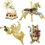 Christmas Brooches & Pins decorated with Swarovski crystals