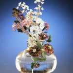 Sculptural vase of Faberge flowers with diamonds, crystal, pearl, jade, quartz, pink tourmaline, onyx