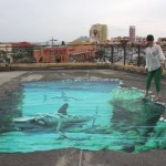 Picturesque illusion, 3d pavement painting in Okinawa, sharks