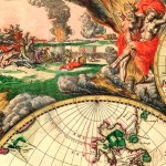A fragment of a decorative map of the world with Antarctica and North America, which was released in Amsterdam in 1689