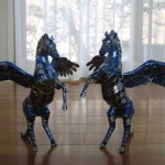 Two Pegasus. Aluminium can sculpture by Japanese artist Macaon