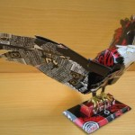 An eagle. Aluminium can sculpture by Japanese artist Macaon