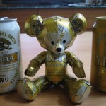Teddy Bear. Aluminium can sculpture by Japanese artist Macaon