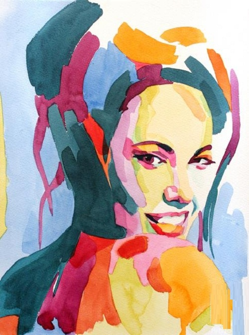 Angelina Jolie. Watercolor portrait by Russian artist by Tatyana Abramova
