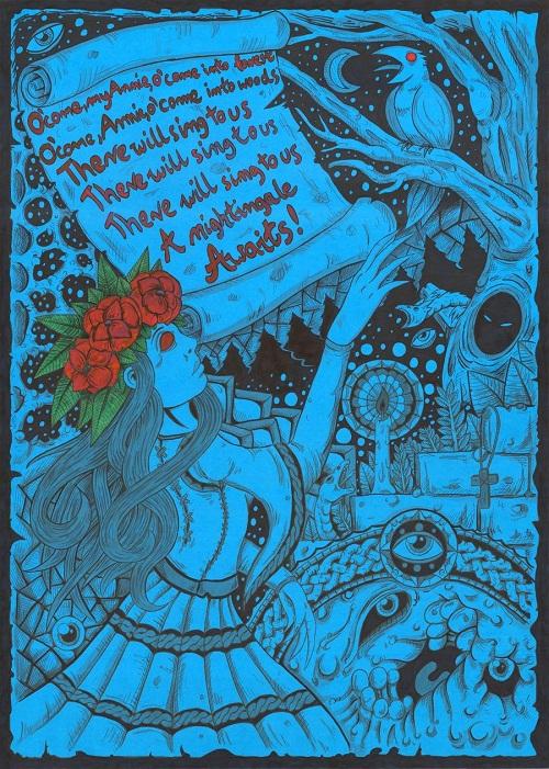 Annie. Psychedelic drawings by Polish artist Darek Zawiazalec