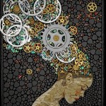 Watch mechanisms hair. Beautiful mosaic by American artist Laura Harris