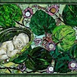 Sleeping baby. Beautiful mosaic by American artist Laura Harris