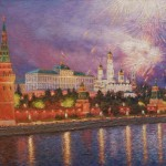 Fireworks over Moscow. Oil on canvas, painting by Igor Razzhivin