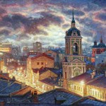 Roofs of Moscow streets. Oil on canvas